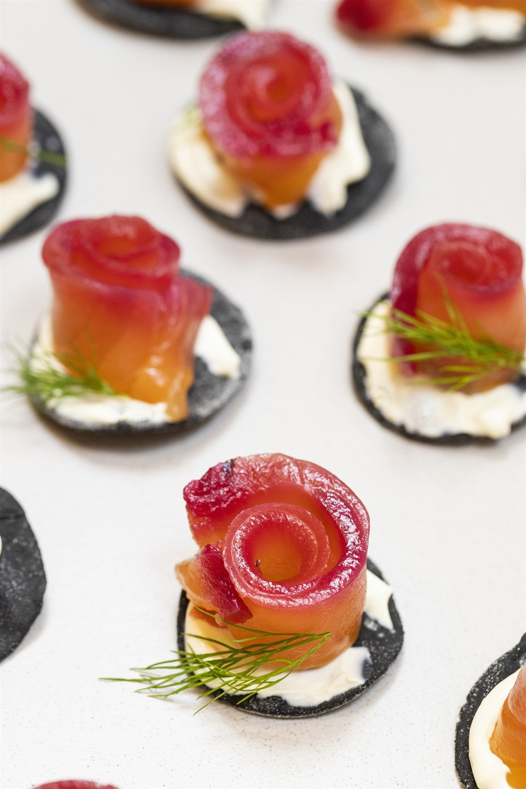 Vodka & beetroot cured salmon on a squid ink cracker